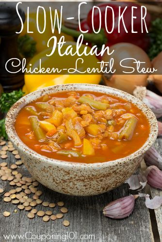 Slow-cooker Italian chicken-lentil stew recipe -- easy, frugal, and delicious!