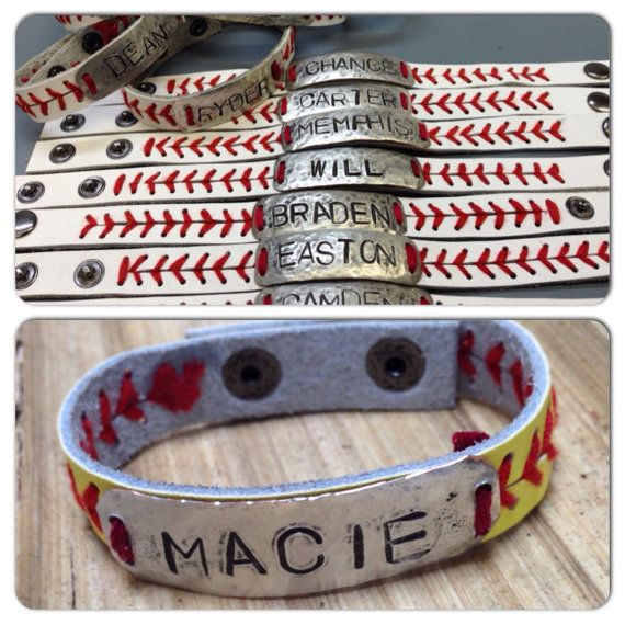 Leather baseball/softball bracelet personalized by PhyllisAnnsHFB