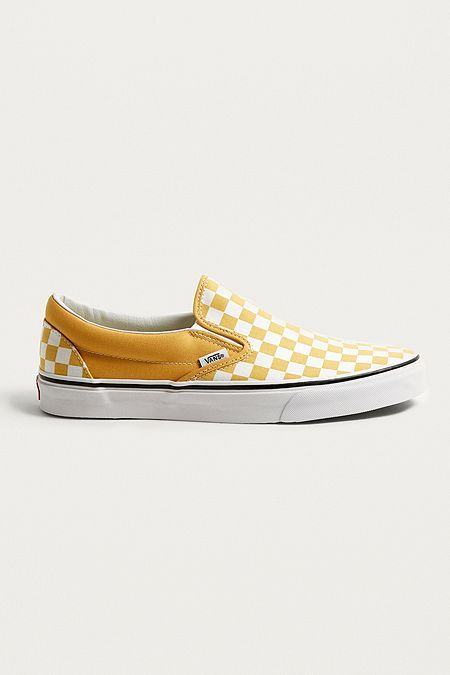 f7260444259 Vans Classic Yellow Checkerboard Slip-On Trainers