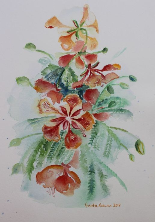 Buy Red Flamboyant flowers still life in watercolor, free shipping, Watercolor by Geeta Biswas on Artfinder. #watercolor #gulmohar #redflowers #flowers #redflamboyant #gift #artlovers #art #painting #delonixregia #under$200