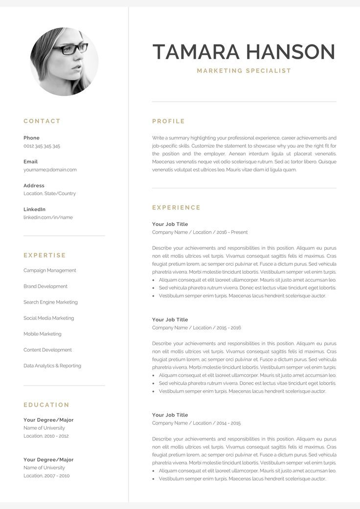 Modern Cv Template With Photo 1 2 Page Resume Etsy Modern Cv Template Resume Template Professional One Page Resume Template