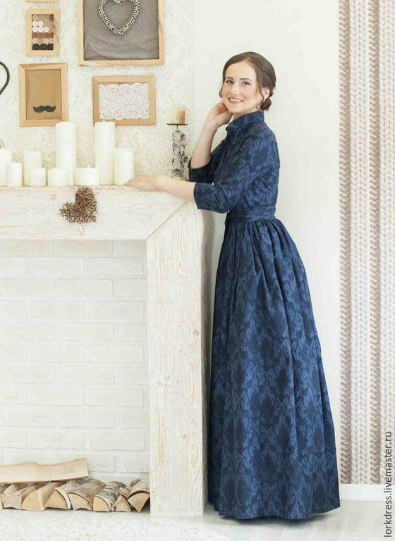 Купить Платье из хлопка Sapphire - тёмно-синий, пейсли, платье в пол, длинное платье