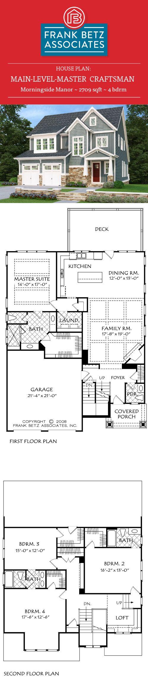 Morningside Manor: 2709 sqft, 4 bdrm, main-level-master, craftsman house plan design by Frank Betz Associates Inc.