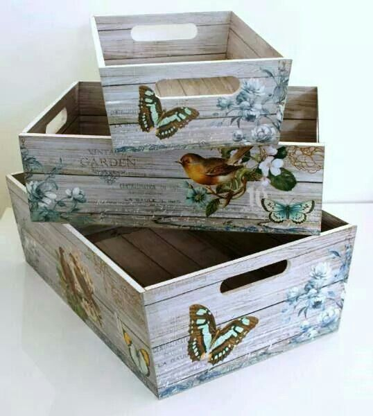 Crates with burtterflies, birds & roses - what could be cuter (cheaper) vintage decor' ?