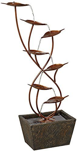 Ashton Curved Leaves Indoor - Outdoor Copper Floor Fountain by Universal Lighting and Decor. www.ContainerWaterGardens.net