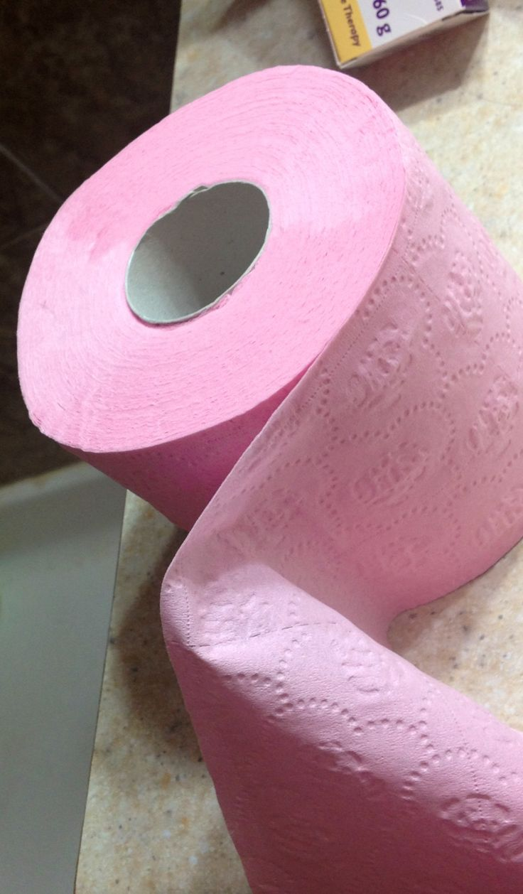 Pink toilet paper! I had forgotten how toilet paper used to come in different colours!