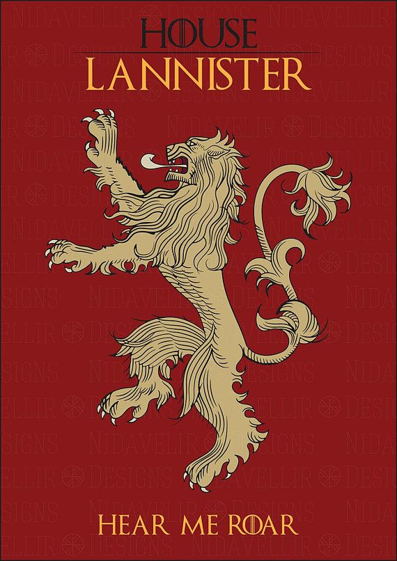 Game Of Thrones Great House Vector Heraldic Sign House Lannister Original Poster Digital Vecto Lannister Game Of Thrones Poster Game Of Thrones Bar