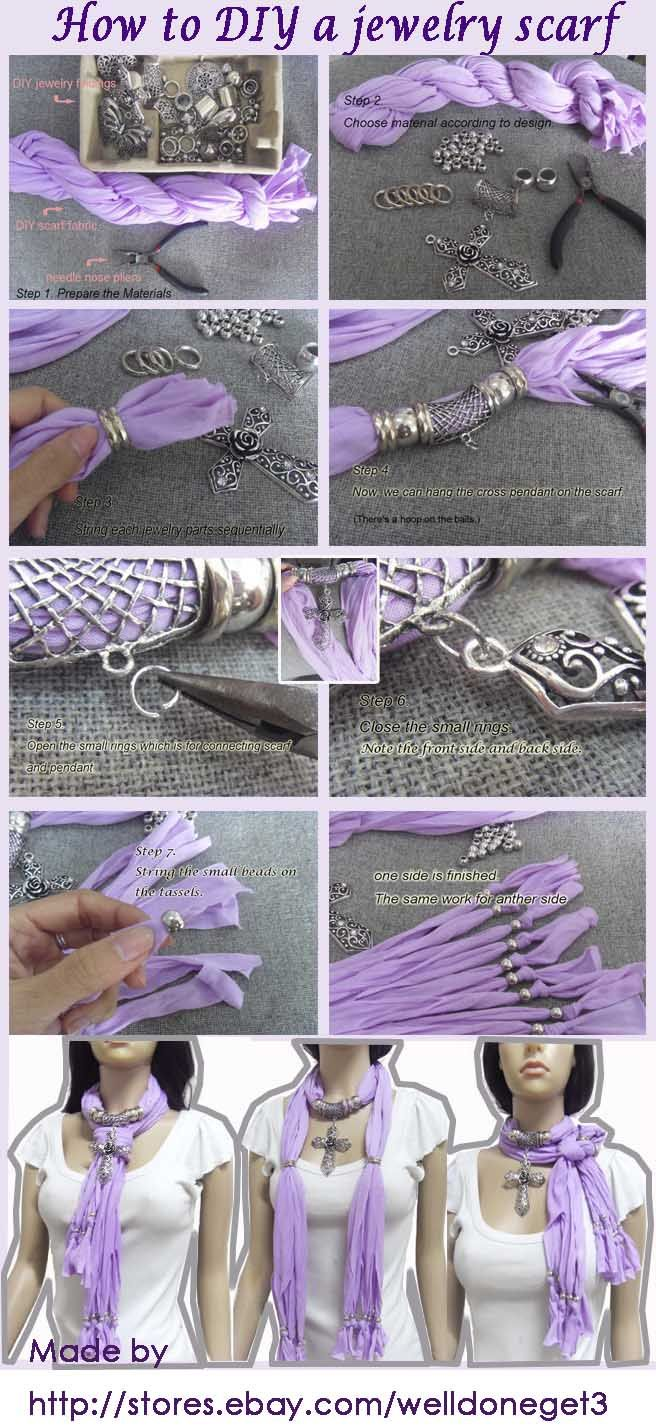 How to DIY a jewelry scarf. Welldoneget3 teaches you step by step. Click it to buy DIY jewelry findings. http://stores.ebay.com/welldoneget3