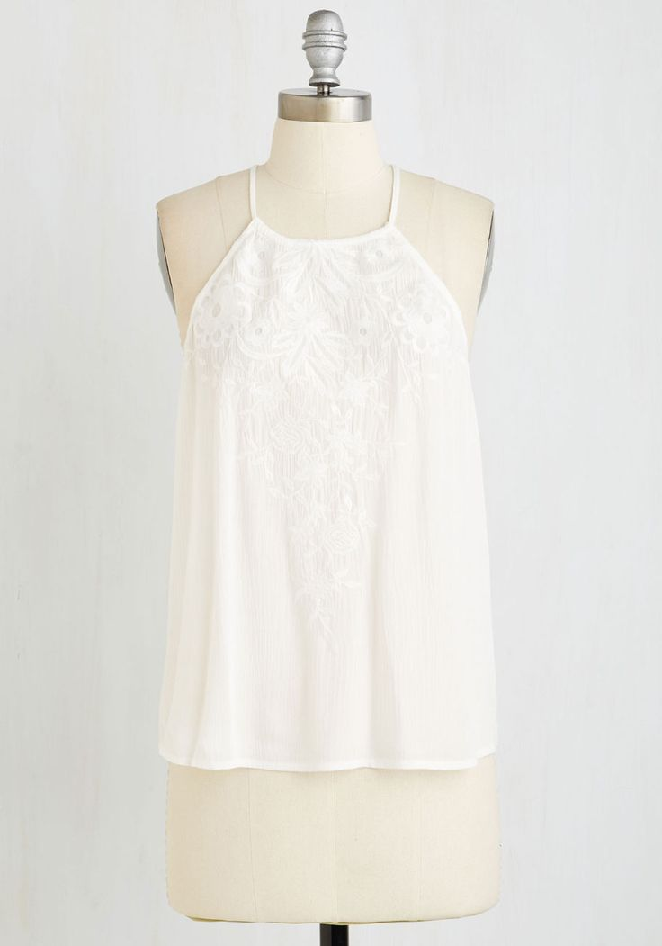 Vine Cooler Top. Keep cool in the summer heat while sipping something sweet in this breezy white tank! #white #modcloth