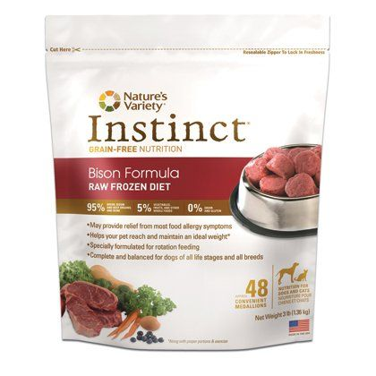 Frozen Dog Food - Natures Variety Instinct Raw Frozen Bison Medallions for Dogs  3lb *** Read more at the image link. (This is an Amazon affiliate link)