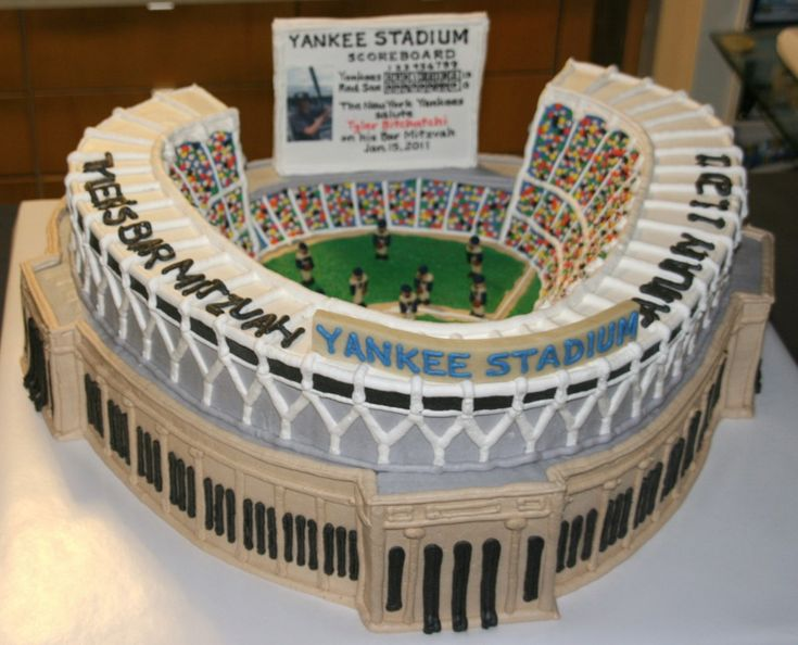 Baseball Inspiration - Yankee Stadium Cake by Creative Cakes, mazelmoments.com..........wow! Cary would freak out if I managed to do this for his bday....except for the fact that the trop isn't this cool.