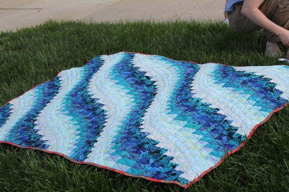 Bargello Quilt Pattern King Size Ocean by stickysugarstitches