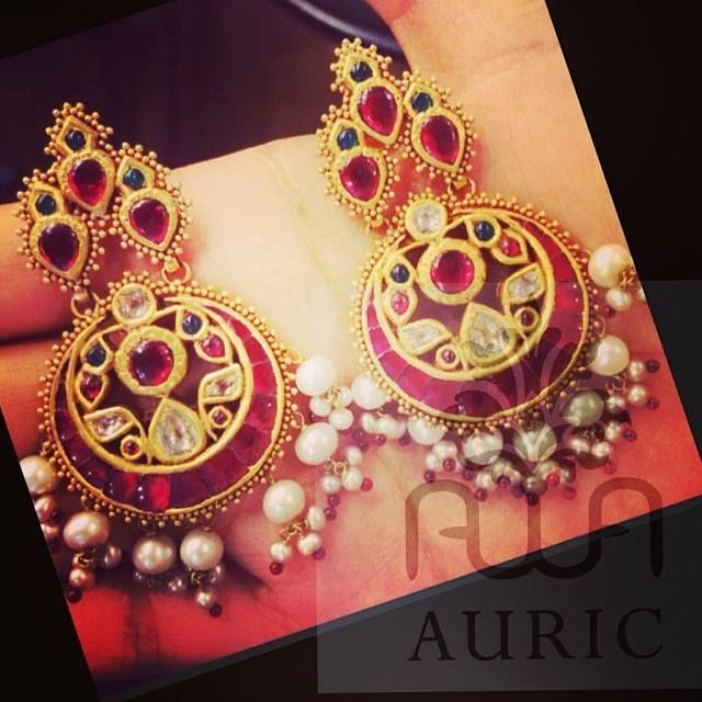Earrings/Chandbali with Rubies
