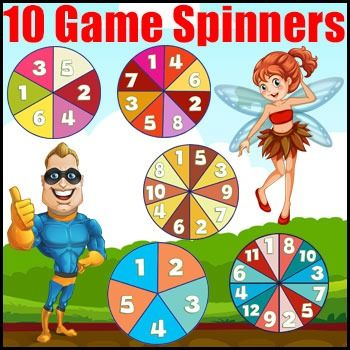 10 ELECTRONIC game spinners and 10 PRINTABLE game spinners in the one download. Ideal for Math games and learning centers.