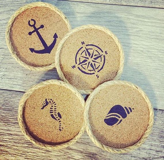 beach drink coasters beach decor navy coaster set nautical home decor cork coasters table coasters christmas gifts for her - Drink Coasters