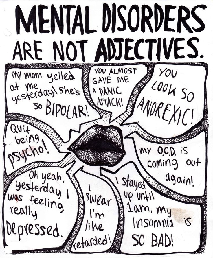 Drew a version of this a while ago for my psychology teacher to hang in his classroom. The way people so often misinterpret legitimate mental disorders is probably one of my biggest pet peeves.