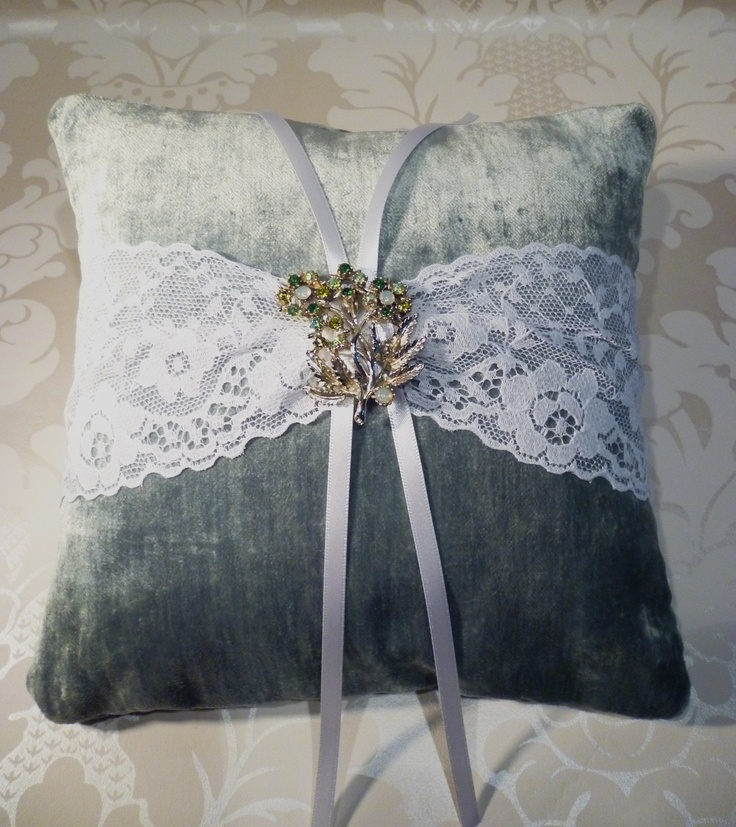 Velvet #Wedding Ring Cushion with #vintage brooch