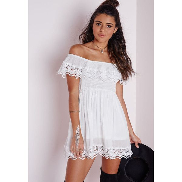 Missguided Cheesecloth Crochet Trim Bardot Skater Dress White ($34) ❤ liked on Polyvore featuring dresses, ivory, boho chic dresses, boho style dresses, bohemian dress, white dress and ivory skater dress