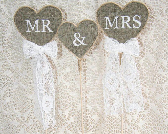 Rustic gâteaux de mariage, Mr & Mme Cake Topper, gâteaux de mariage rustique, toile de jute de gâteau, pays toile de jute de gâteau, topper de toile de jute