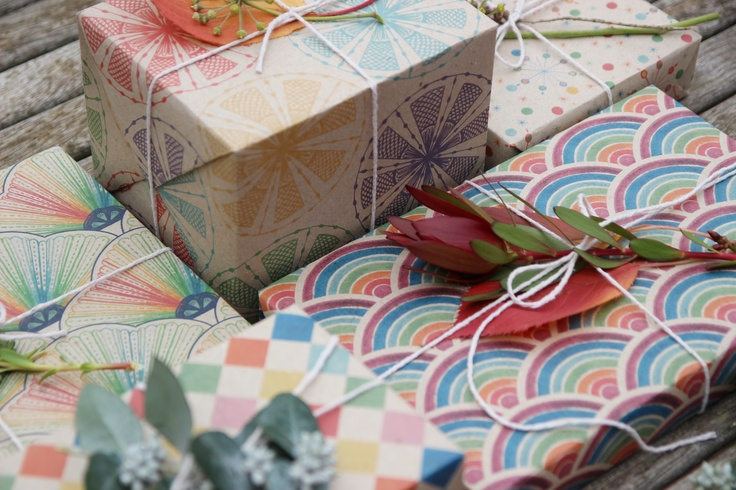 Carnival wrapping paper set of five by Emma Jennings, printed on 100% recycled Australian paper. www.emmajennings.com.au