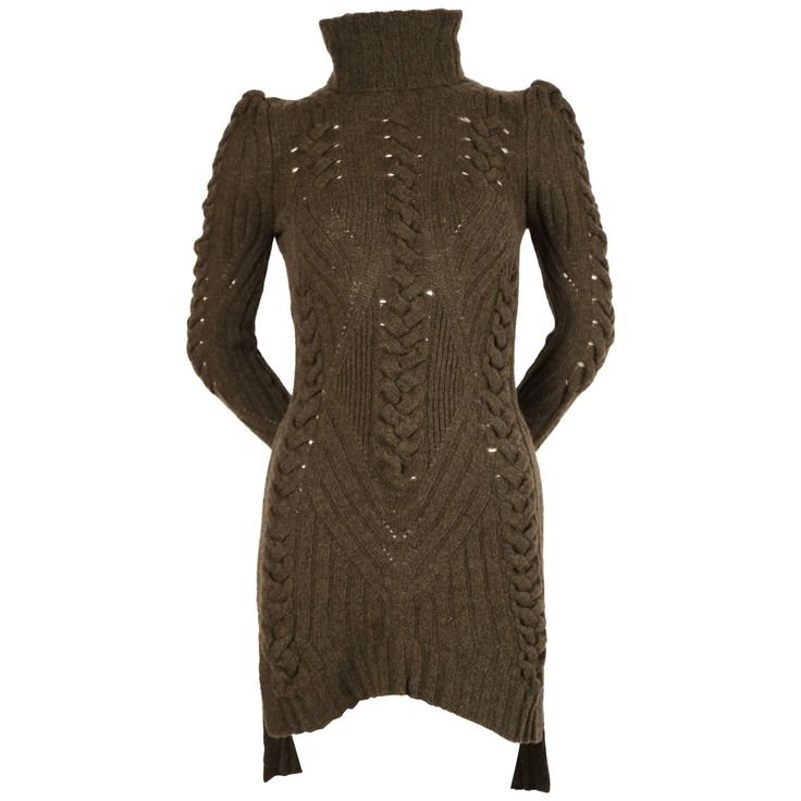 CELINE by PHOEBE PHILO moss green cable knit sweater dress