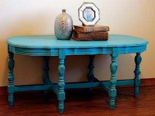 Turquoise Distressed Chalky Painted Vintage Coffee Table Www.