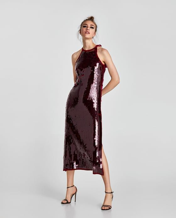 ZARA - WOMAN - SEQUINNED HALTER NECK DRESS