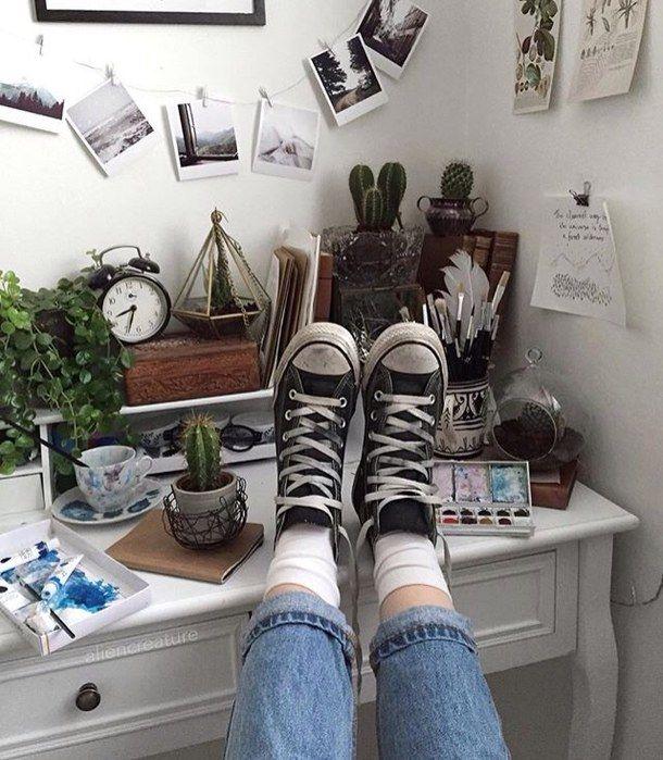 aesthetic, aesthetics, art, bedroom, cactus, converse, denim, desk, pale, plants, room, soft grunge, travel, aliencreature