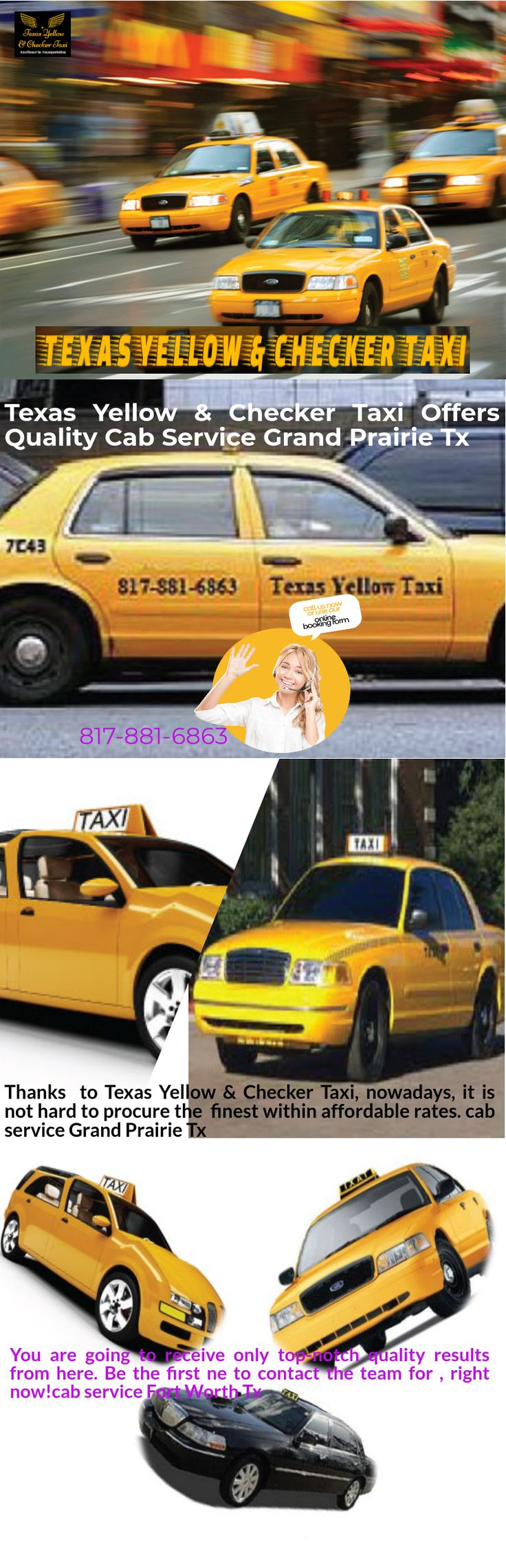 Avail your transfer needs with the best Taxi Cab Service Granbury TX available. Texas Yellow & Checker Taxi will provide you with a reliable Taxi Services Godley TX. For a smooth and non-stressful ride, hiring Texas Yellow & Checker Taxi is the best thing you can do.