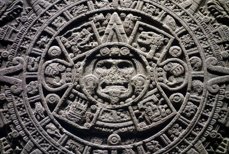 The Sun Stone (or Calendar Stone), Aztec, reign of Moctezuma II (1502-20), discovered in 1790 at the southeastern edge of the Plaza Mayor (Zocalo) in Mexico City, stone (unfinished), 358 cm diameter x 98 cm depth (Museo Nacional de Antropología)