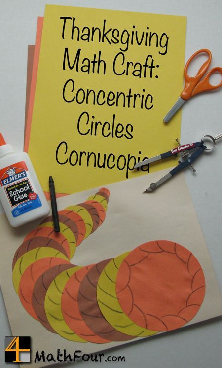 Make this cornucopia from concentric circles. What a great math craft for Thanksgiving! (from http://MathFour.com) #math #mathchat