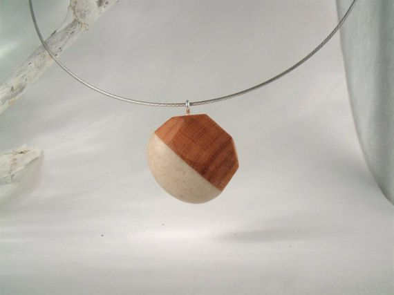 SEMICIRCULAR  Hand Carved Wood Stone Necklace  by STandoneART