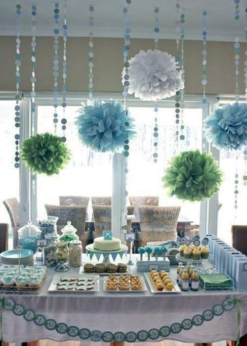 suave decoracin de bautizo en tonos aguamarina fiestas infantiles y cumpleaos de nios