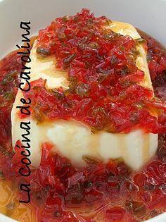 Queso Crema venezolana con salsa de pimiento,, riquisimo
