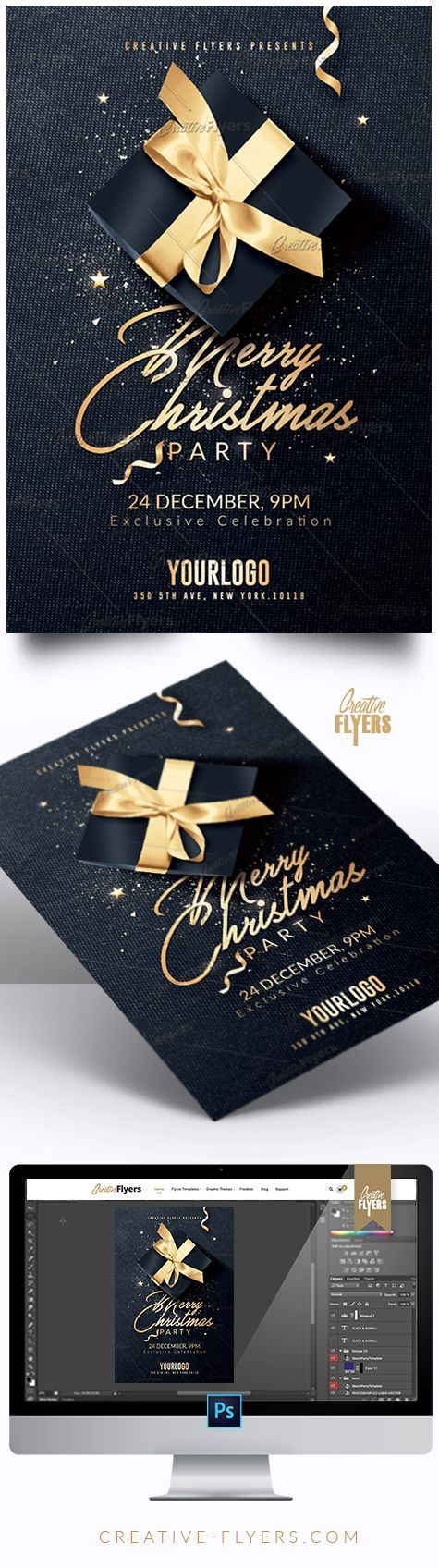 birthday party invitation templates free printable%0A Creative Merry Christmas Flyer  Enjoy downloading the Premium Photoshop  PSD Flyer   poster Template designed