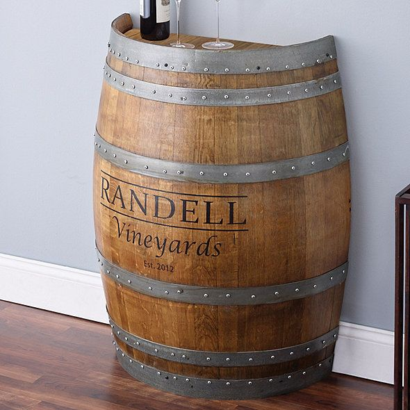 Reclaimed Half Barrel Table Personalized In 2020 Wine Barrel Furniture Barrel Table Wine Barrel Bar