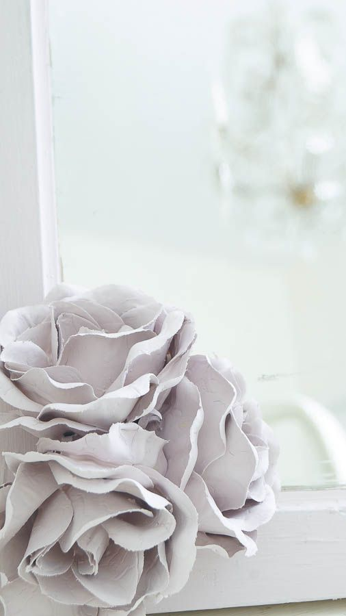 DIY Chalk Type Paint Porcelain Roses - White Lace Cottage