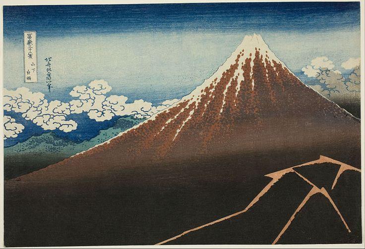 • Katsushika Hokusai - Temporale sotto la cima, dalla serie Trentasei vedute del monte Fuji (1830-1832 circa). Palazzo Reale, Milano.
