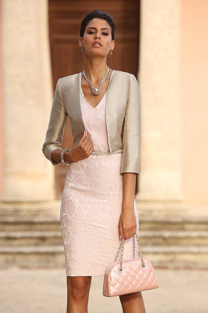 Wishesbridal 2015 Elegant V Neck Knee Length Pink Silver #Lace Sheath Column #MotherOfTheBrideDress With Jacket B2lr0006