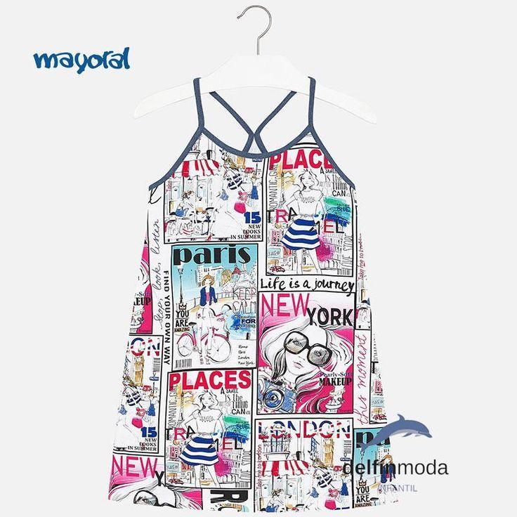 "Vestido niña juvenil MAYORAL playero tirantes ""comic"""