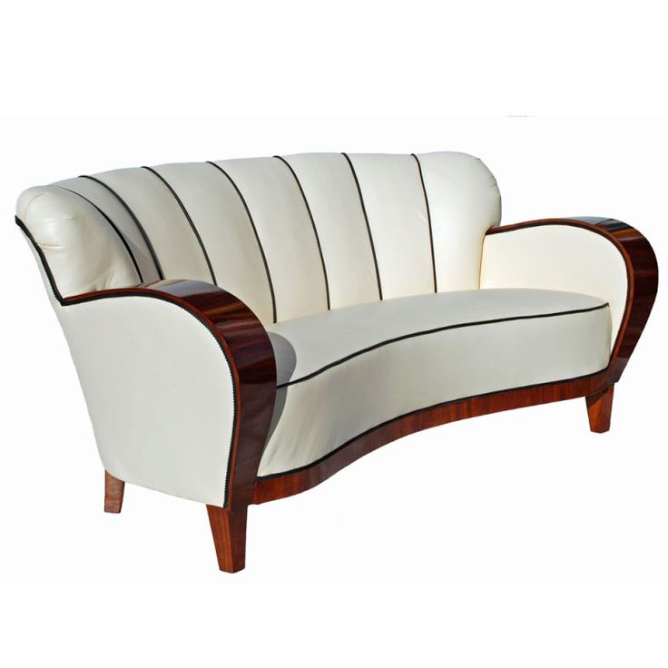 An Art Deco Curved Walnut Sofa, Sweden, Circa 1930s .
