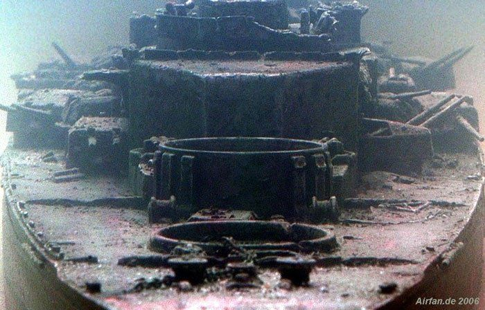 Guns of the mighty Bismarck wreck USS Yorktown wreck discovered by Robert Ballard in 1998 USS Kittiwake Two grounded WWI German submarines Two wrecked Germ