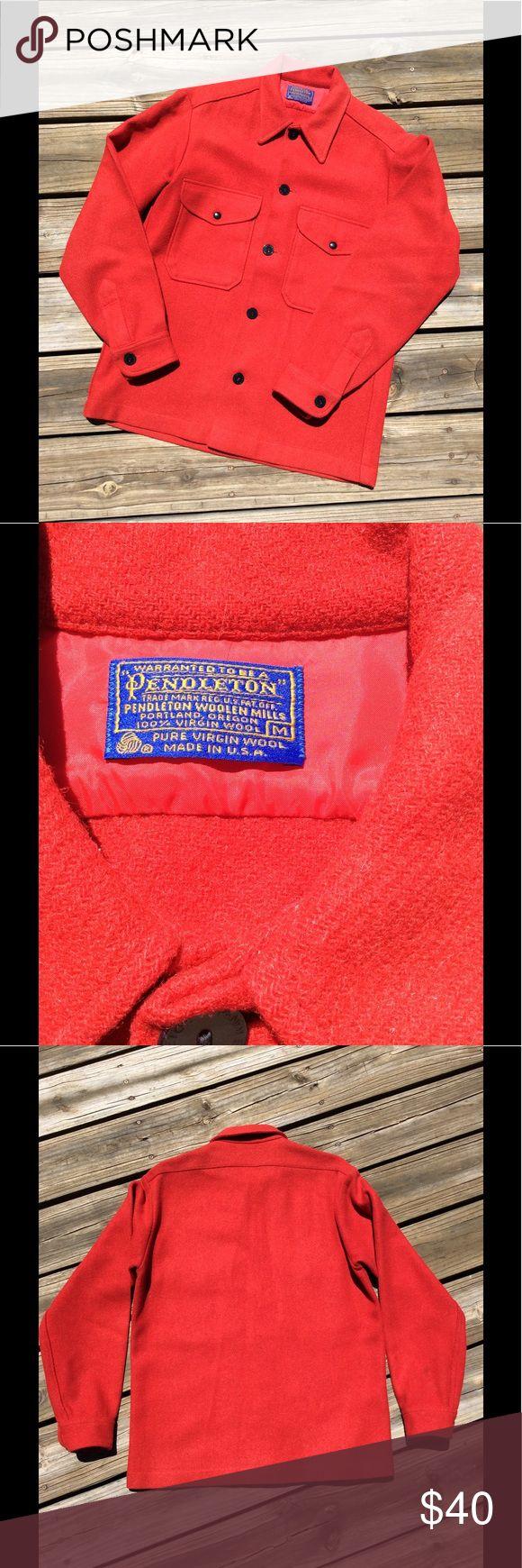 "Vintage Pendleton shirt jacket Medium red wool Red medium Vintage Pendleton shirt jacket. One small spot very hard to see on sleeve.  See picture.  Armpit to armpit 22.5"",  shoulder to shoulder 19"",  sleeve 24"" men/women Pendleton Shirts"