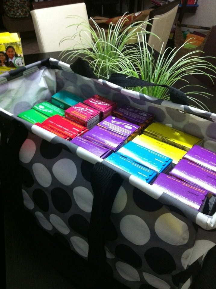 Large utility totes fits 28 girl scout cookie boxes!!!! check out http://www.cutebags4less.com/ for current pricing  patterns!