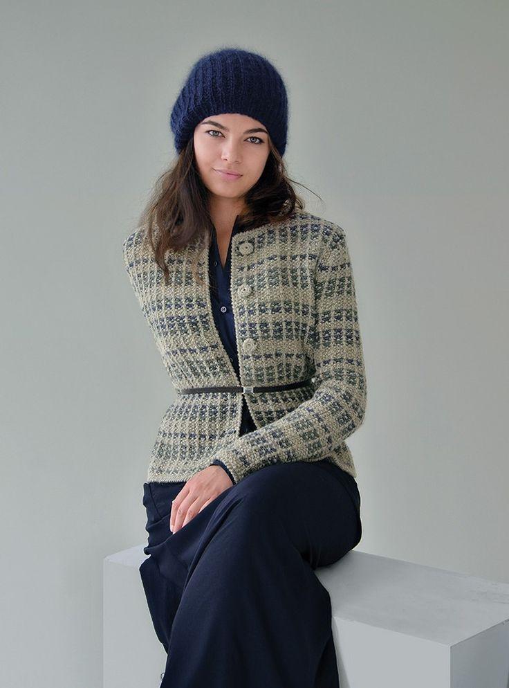 SHADOW classic jacket worked in tweedy stripes & MIST hat