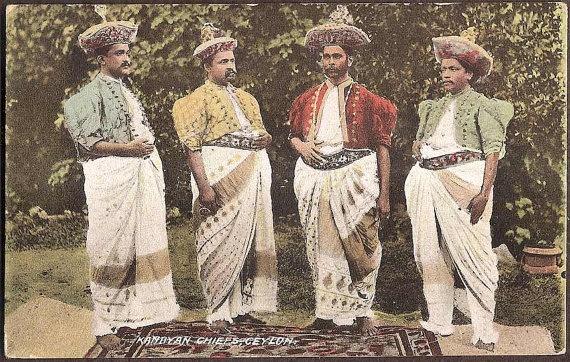 Ceylon, Sri Lanka Vintage Ethnic Postcard - Kandyan Chiefs