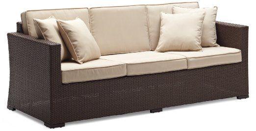 Amazon.com: Strathwood Griffen All-Weather Wicker 3-Seater Sofa, Dark Brown: Patio, Lawn & Garden