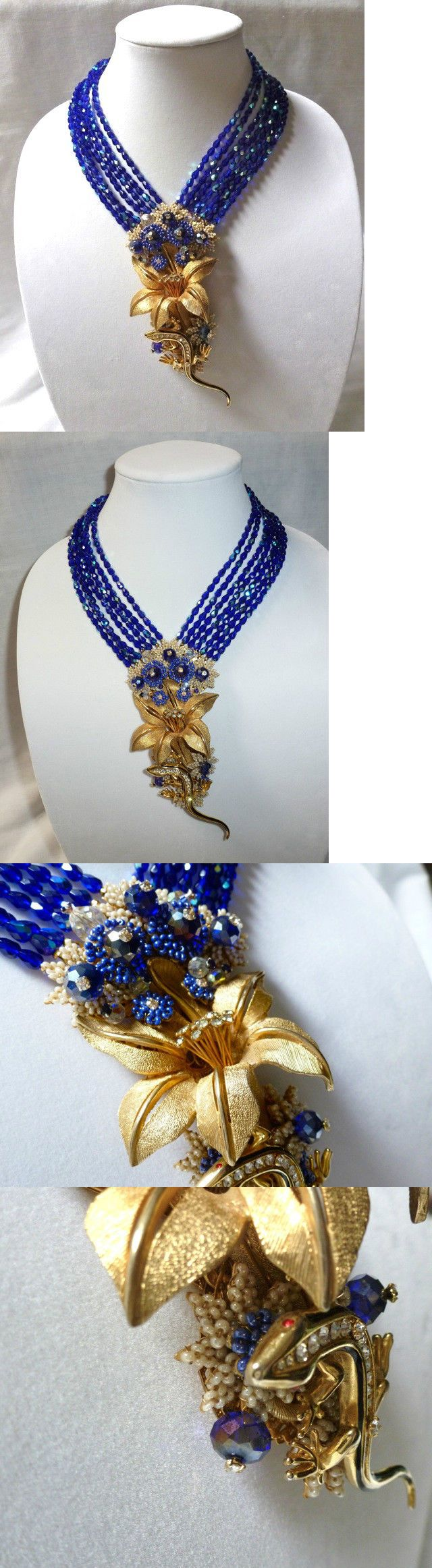 Necklaces and Pendants 165893: Huge Stanley Hagler Lily Flower And Lizard Pendant 7 Strand Necklace - 5.75 Drop BUY IT NOW ONLY: $629.99