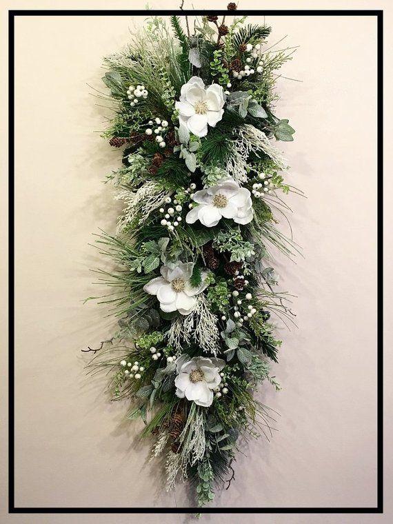Beau Winter Magnolia Door Swag Winter Swag Wreath For Front Door | Etsy