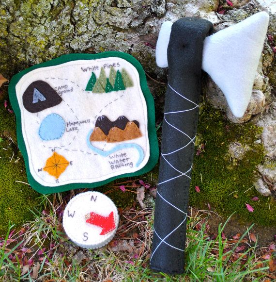 Kids Felt Hatchet Compass and Hiking Map by HopewellCreek on Etsy, $38.00